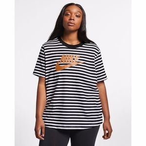Nike Plus Size Striped Logo Tee